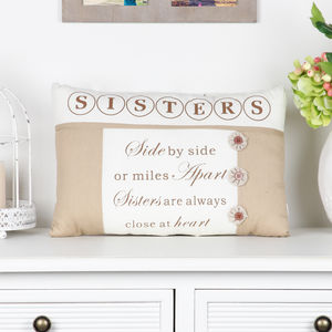 Close To The Heart Sister Cushion - bedroom