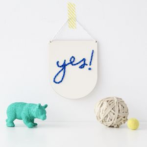 Laser Cut Mini Wooden 'Yes!' Banner Embroidery Kit - children's room