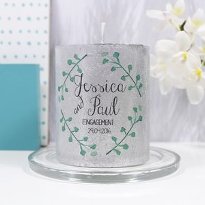 Personalised Engagement Metallic Candle Gift