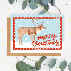 Folk Reindeer Christmas Card - winter sale