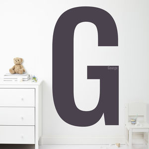Monochrome Children's Initial And Name Wall Sticker - wall stickers
