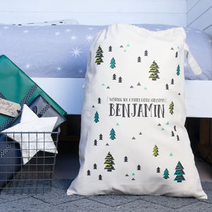 Personalised Scandinavian Print Christmas Sack