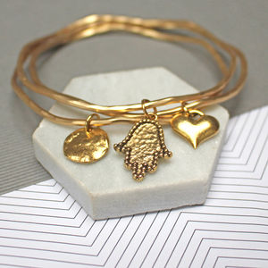 Lucky Hamsa Bangle Set - summer sale