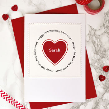 Personalised Wedding Anniversary Card - Heart Design
