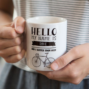 Occd Cycling Disorder Personalised Ceramic Mug - gifts for cyclists