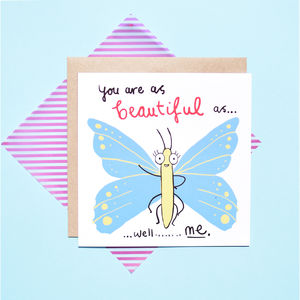 'Beautiful As A Butterfly' Valentines Card