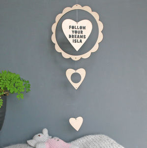 Personalised Wooden Heart Mobile - children's room accessories