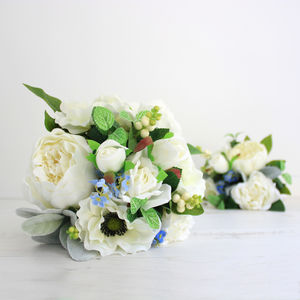White Silk Peony And Anemone Bridal Bouquet