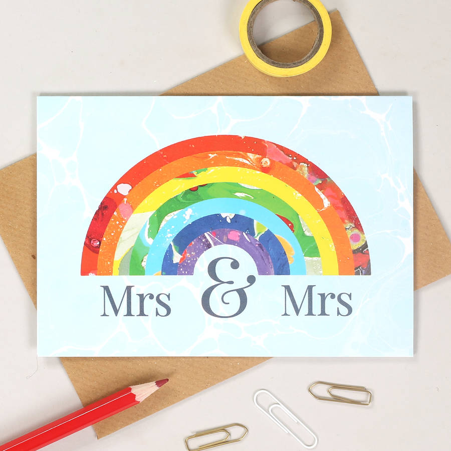 mrs and mrs rainbow wedding card by bombus | notonthehighstreet.com