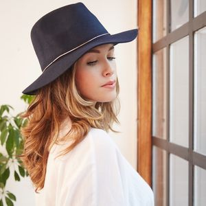 Wide Brim Fedora Hat - womens