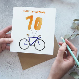 70th Birthday Bike With Balloons Card - birthday cards
