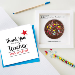 Thank You Teacher Card And Chocolate Gift