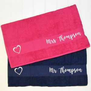 Personalised Embroidered Mr And Mrs Towels - bed, bath & table linen