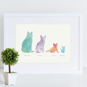 Family Cats Watercolour Personalised Print - family & home