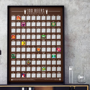 100 Beers Scratch Off Bucket List Poster - food & drink prints
