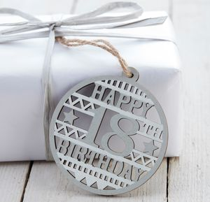 Wooden 18th Birthday Tag