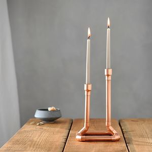 Industrial Copper Candle Holder - table decoration