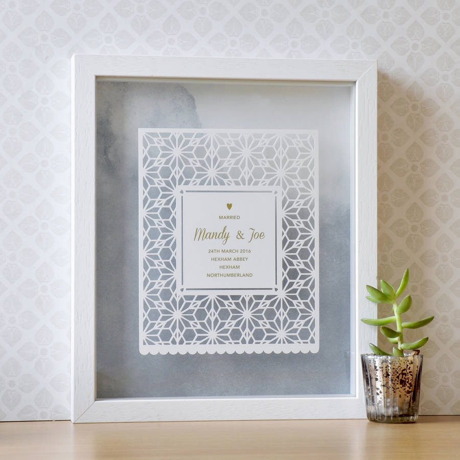 homepage > ANT DESIGN GIFTS > PERSONALISED WEDDING GIFT PAPERCUT ART