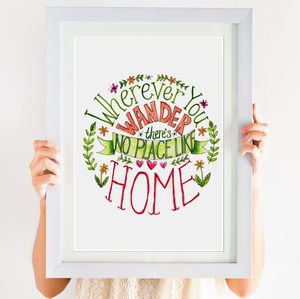 'No Place Like Home' Hand Lettered Circular Print