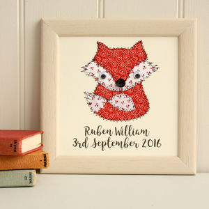 Personalised Baby Fox Embroidered Plaque - mixed media & collage