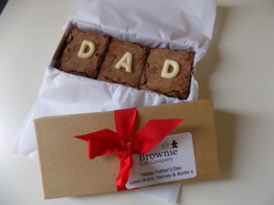 Fathers Day Brownie Box With Chocolate 'Dad' - brownies