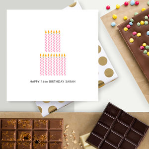 16th Birthday Personalised Chocolate Card