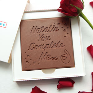 Personalised Chocolate 'You Complete Me' Card