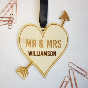 Personalised Wedding Heart Wooden Keepsake - decorative accessories