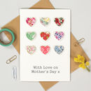 Personalised Mother's Day Liberty Nine Heart Card
