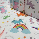 Unicorn Gift Wrapping Paper Or Gift Wrap And Card Set