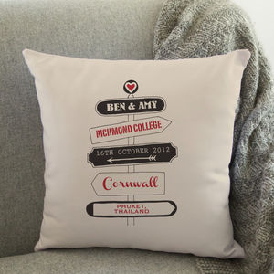 Personalised Love Travel Signpost Cushion - frequent traveller