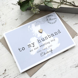 Personalised 'To My Husband' On Our Wedding Day Card - wedding, engagement & anniversary cards