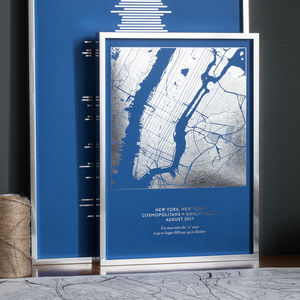 Personalised Metallic Map Print - 30th birthday gifts
