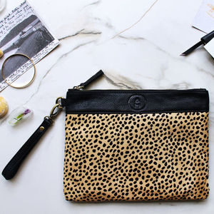 Mendez Cheetah Clutch Bag - clutch bags