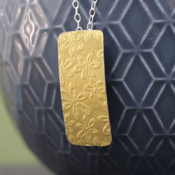 Golden Watercolour Floral Tag Pendant