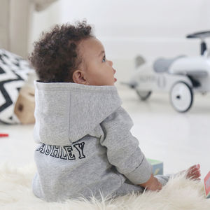 Personalised Hooded Jersey Onesie Grey - clothing