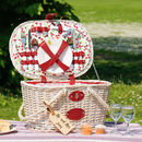 Personalised 1950's Cherry Picnic Basket For Four