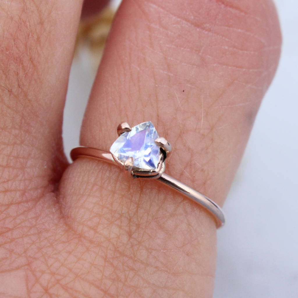 apollo 9ct rose gold trillion offset moonstone ring by amelia may ...