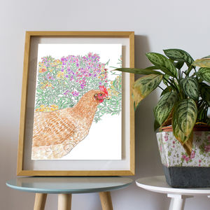 Floral Hen Digital Art Print