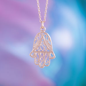 Hamsa Hand Lace Charm Pendant In Gold Or Silver