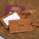 Personalised Tan Initial Luggage Tag