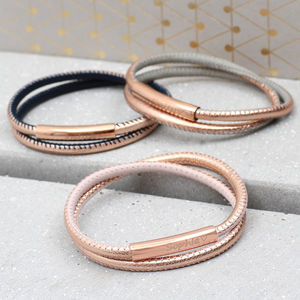 Personalised Rose Gold And Leather Wrap Bracelet - jewellery