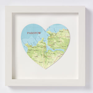 Padstow Map Heart Print Gift