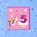 Personalised Pink Unicorn Kids Age Birthday Card