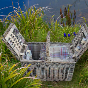 Lavender And Ivory Tartan Lidded Hamper For Four