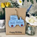 Personalised Brother Wooden Tractor Birthday Card