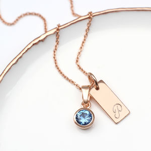 Personalised 18ct Rose Gold Birthstone Initial Necklace