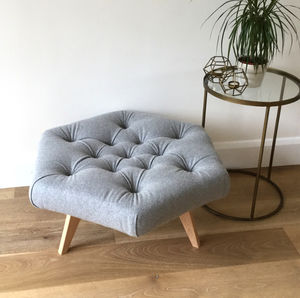Wool Buttoned Hexagonal Footstool - footstools & pouffes