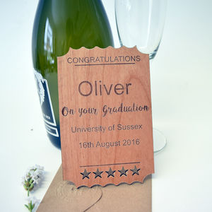 Personalised Wooden Graduation Ticket Keepsake