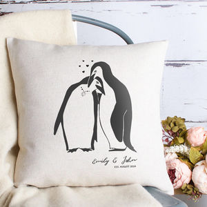 Love Penguins Cushion Cover - personalised sale